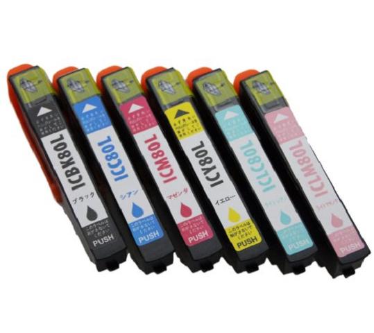 プリンター メーカー直売 インク インクジェット パック IC80L IC 80 EPSON エプソン IC6CL80L 6色セット ICチップ付 Colorio とうもろこし 送料込 増量版 マルチパック 1年保証 互換インクカートリッジ コピー カラリオ 送料無料