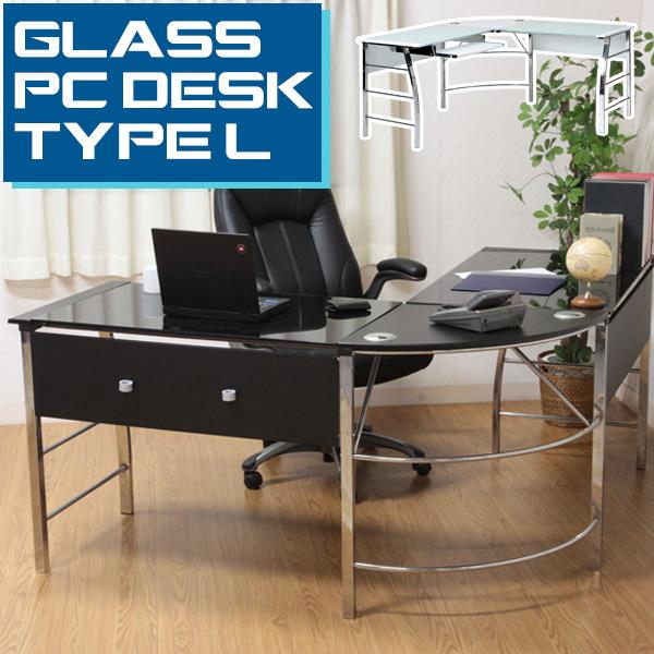 【送料無料_e】ガラスPCデスク L型 CT-1040BK WH│机 つくえ テーブル 台 デスク オススメ おしゃれなワークデスク OAデスク PCデスク ガラスPCデスク