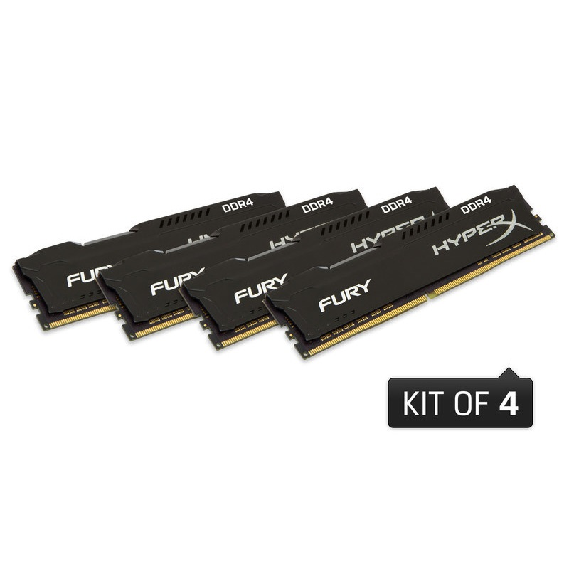 キングストン HyperX FURY Black 16GB(4GBx4枚組) 2666MHz DDR4 CL15 DIMM 288pin (Kit of 4) HX426C15FBK4/16