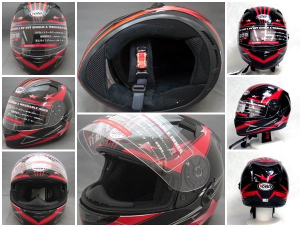 安全帽双盾构全部的脸安全帽VCAN V124内部盾构+盾构从属于的红M
