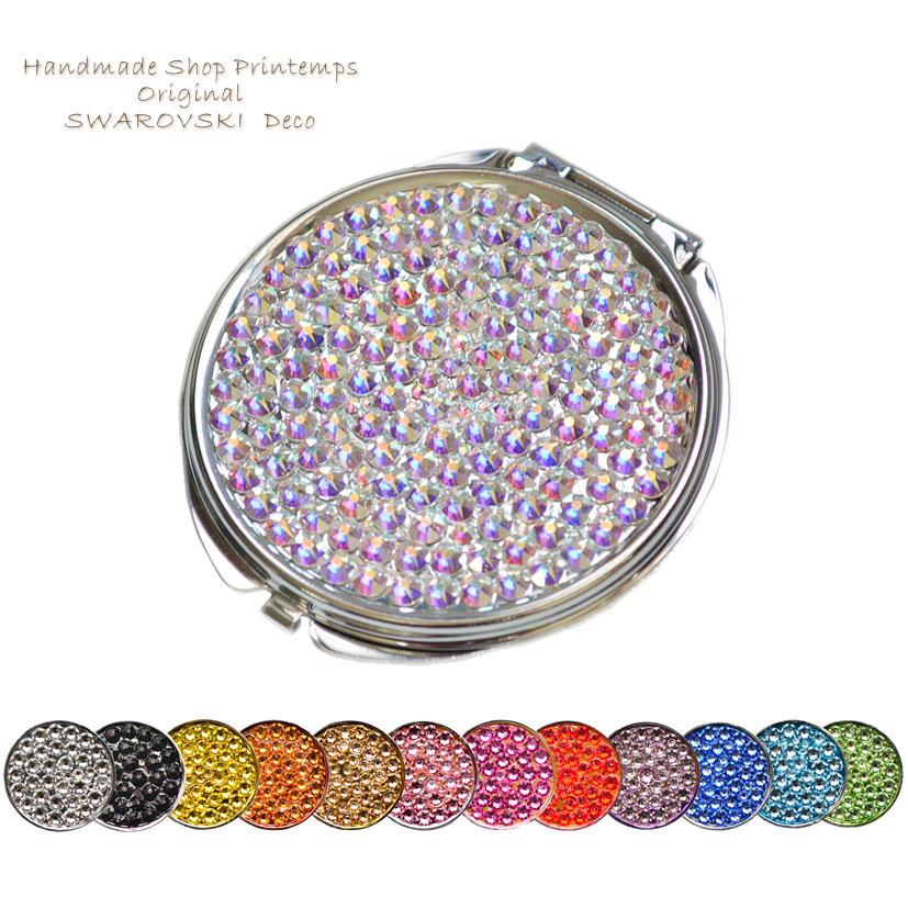おしゃれ 女性 マーケット プレゼント 高級鏡 予約 ミラー SWAROVSKI ラウンド型L ギフトラッピング無料 one コンパクトミラー Color