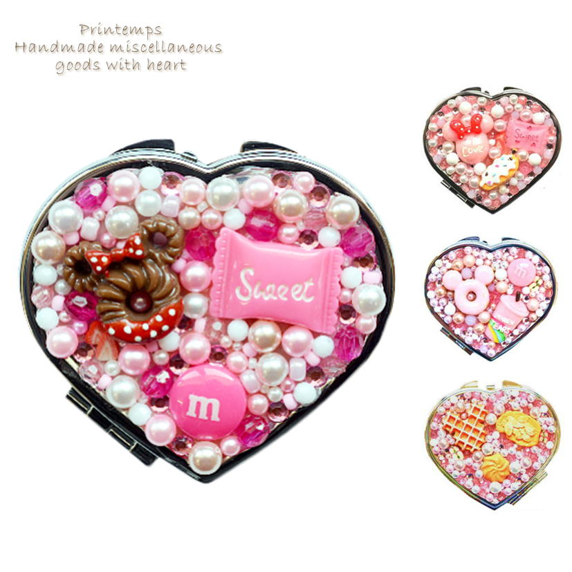 かわいい 女の子 プレゼント 手づくり スイーツデコ コンパクトミラー ハート型 ピンク 両面タイプ 鏡 ミラー 拡大鏡 ラッピング無料