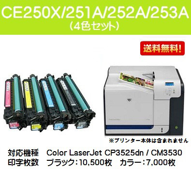 hp(ヒューレット・パッカード) CE250X/251A/252A/253A お買い得4色セット【リサイクルトナー】【即日出荷】【送料無料】【SALE】