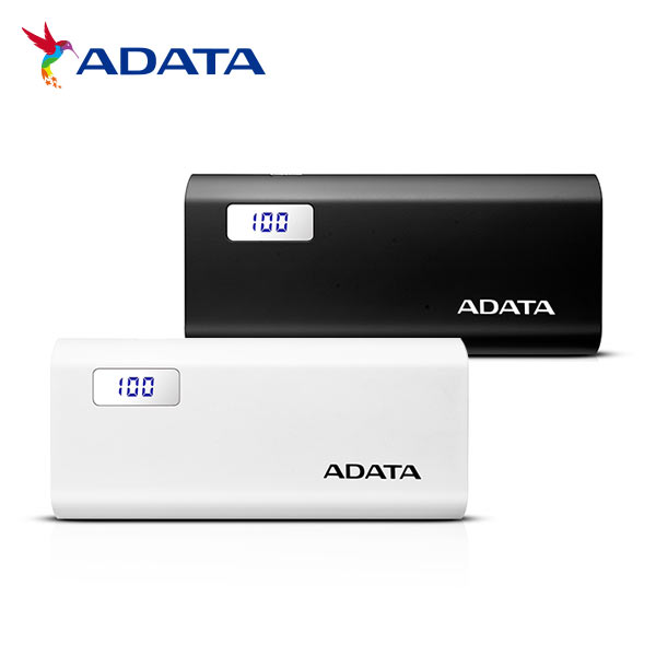 All two colors of ADATA mobile battery large-capacity 12500mAh power bank  P12500D AP12500D-DGT-5V number residual quantity indication 2 ports