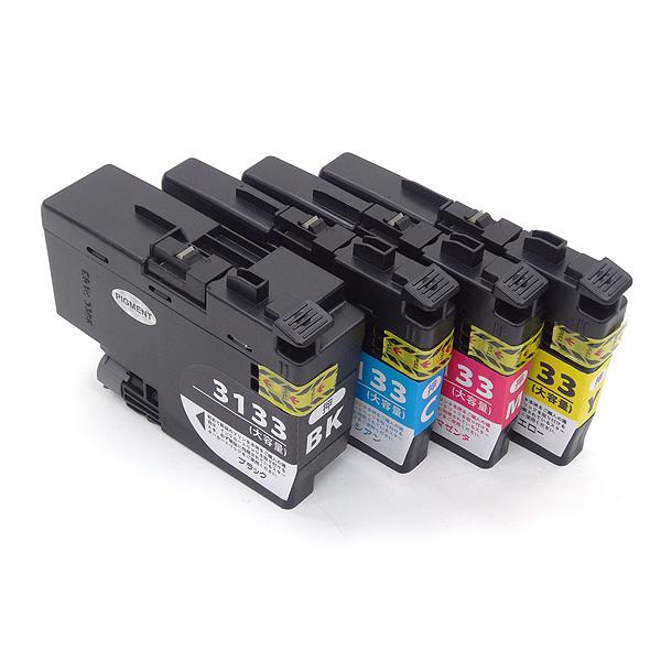 LC3133-4PK ブラザー用 LC3133 互換インクカートリッジ 4色セット 4色セット(ブラックのみ顔料)