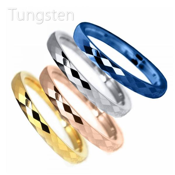 秀逸 輝くミラーボールのようなデザイン リング 大決算セール 指輪 タングステン 2mm 1本 送料無料 ミラーカット 選べる4色