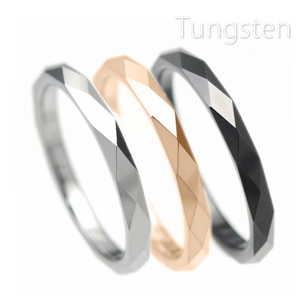 2020A W新作送料無料 リング 指輪 お気にいる タングステン 2mm ダイヤカット 送料無料 1本 選べる3色