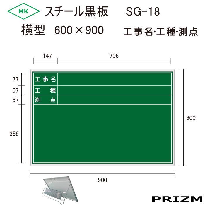 【スチール黒板】 (緑) SG-18 横型 (工事名・工種・測点) H600×W900