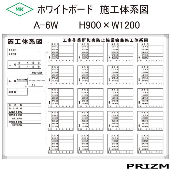 【施工体系図看板】 ホワイトボードタイプ A-6W H900×W1200
