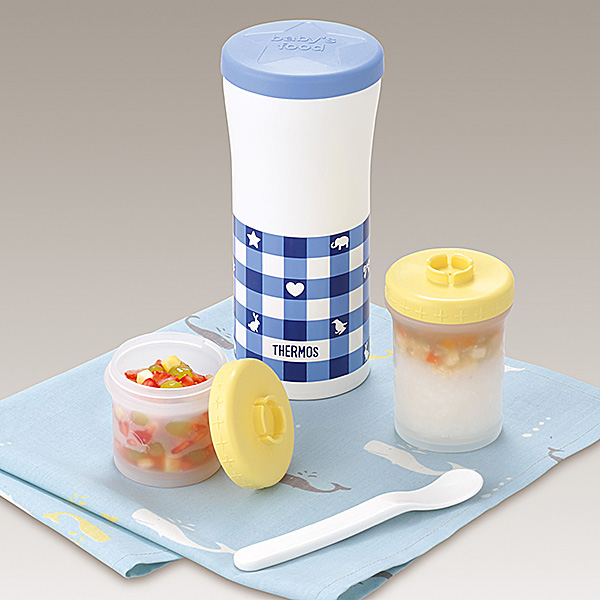 [Thermos ]THERMOS (kettle) Cooling Baby weaning food box &portable cup (JBL-200) Blue Plaid Baby weaning food boxes / vacuum insulation / portable cup / kettle / thermos bottle / keep warm / keep cooling / for milk/ for children