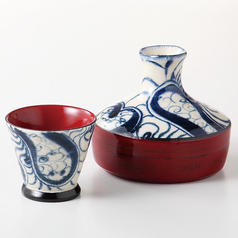 徳利&ぐい呑み 平型酒器セット 漆陶そう吉 渦絞根来(赤)日本製 美濃焼 和食器 ギフト