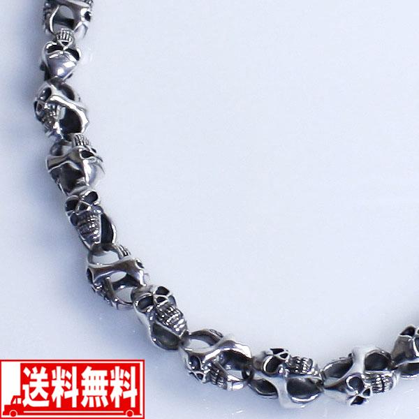 スカル 46cm メンズネックレス シルバー925【smtb-F】 送料無料