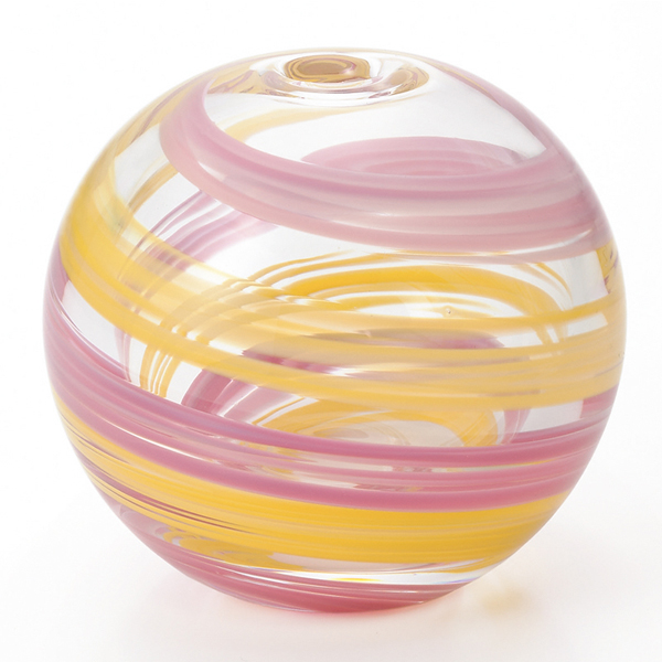 -Made in Japan-round bud vase (water balloons design) Cherry-esque f-71265 vases and Adelia / Ishizuka glass and glass products
