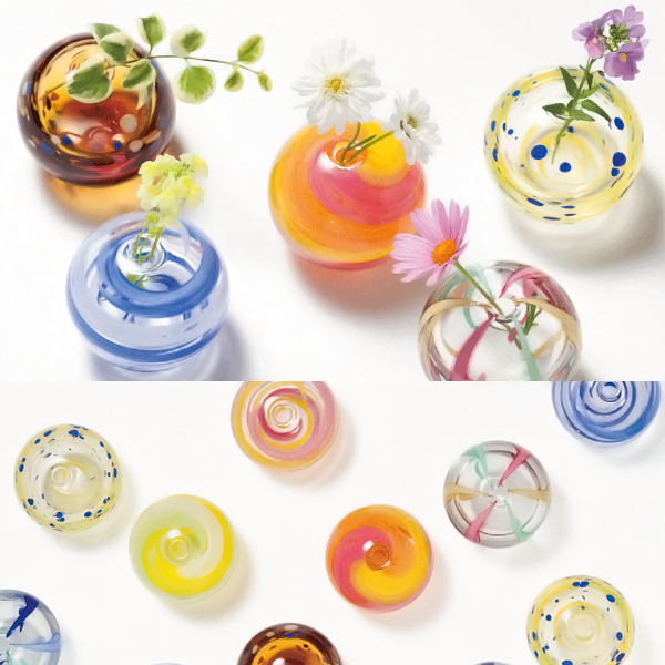 -Made in Japan-round bud vase (water balloons design) Aoba f-71266 vases and Adelia / Ishizuka glass and glass products