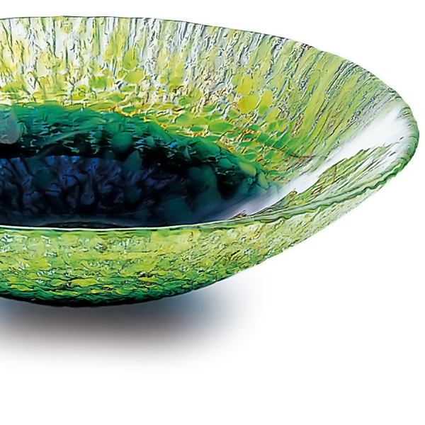Made in Japan-basin type vase, f-79816 Adelia / Ishizuka glass and glass products