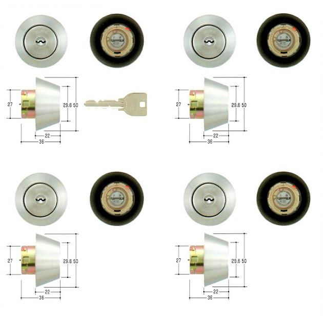 美和ロック(MIWA)交換用シリンダー(MCY-220)U9 TRF-4KN(ST)(4ヶ同一)
