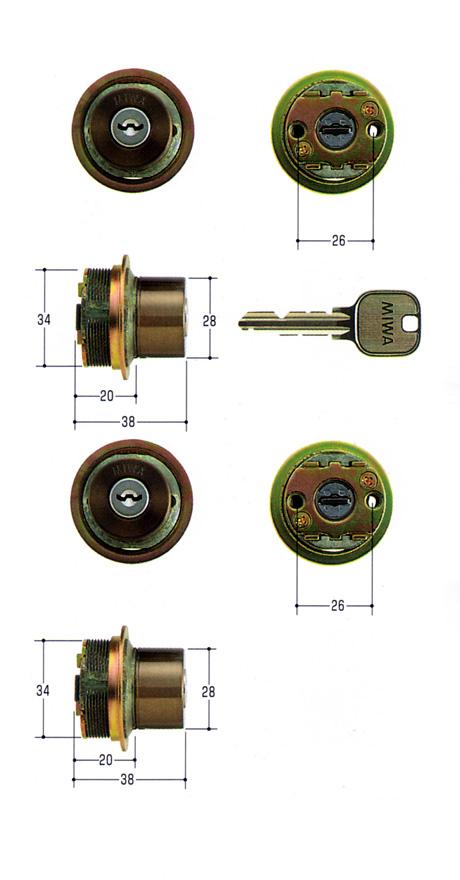 美和ロック(MIWA)交換用シリンダー(MCY-426)U9 TE0(CB)(2ヶ同一)