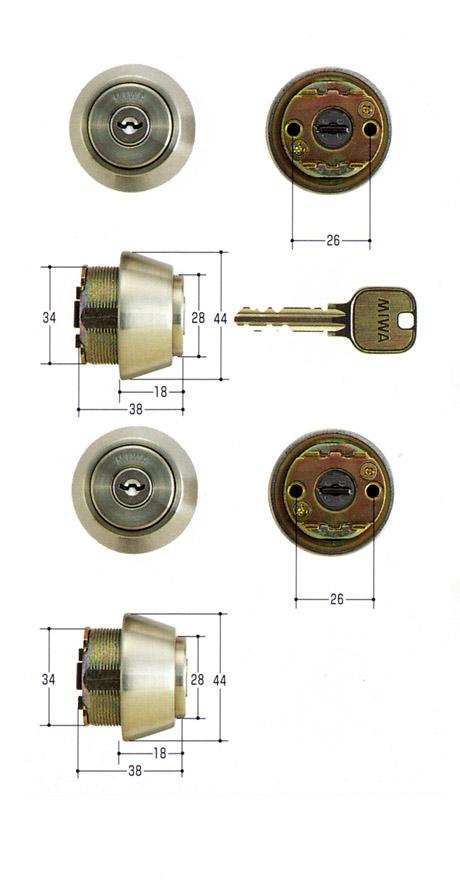 美和ロック(MIWA)交換用シリンダー(MCY-429)U9 TE18(ST)(2ヶ同一)