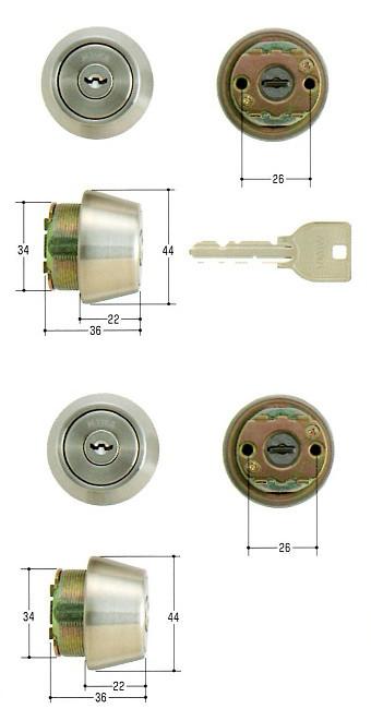 美和ロック(MIWA)交換用シリンダー(MCY-434)U9 TE22(ST)(2ヶ同一)