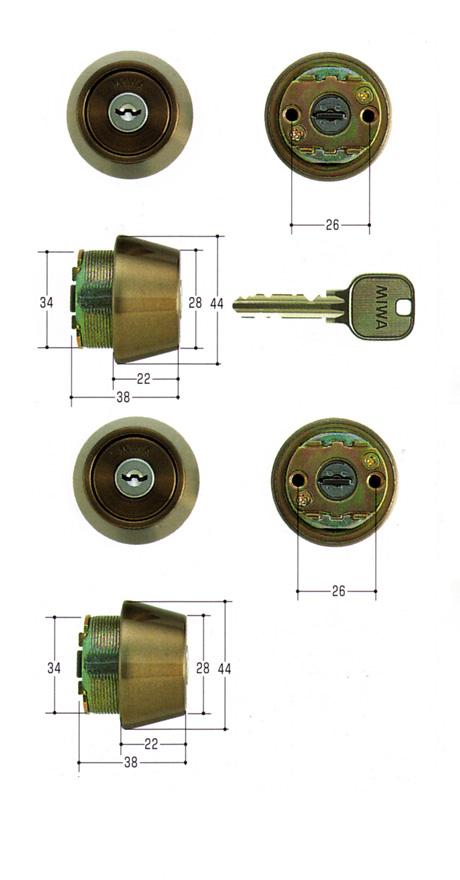 美和ロック(MIWA)交換用シリンダー(MCY-435)U9 TE22(CB)(2ヶ同一)