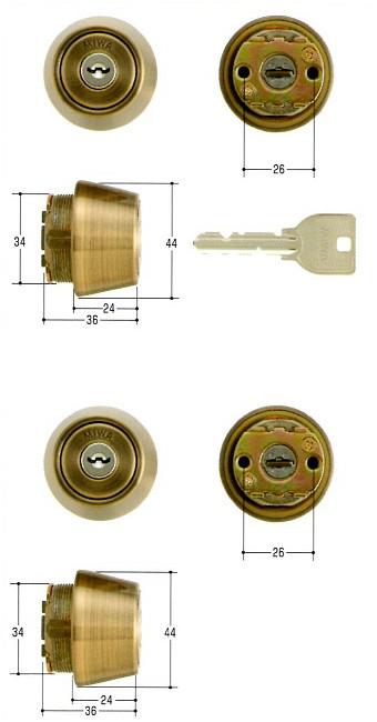 美和ロック(MIWA)交換用シリンダー(MCY-438)U9 TE24(SA)(2ヶ同一)