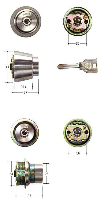 美和ロック(MIWA)交換用シリンダー(MCY-450)UR(ST)(2ヶ同一)