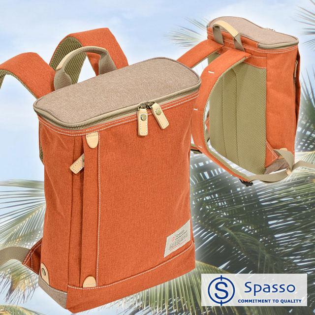 SPASSO JOY スクエアリュック リュックサック / スパッソ ジョイ 側面ファスナー フロントポケット 吊りポケット カジュアル イタリア革 ポリエステル エンドー鞄