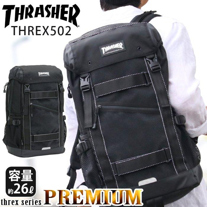 THRASHER スラッシャー リュック 黒 バックパック 大容量 送料無料 プレミアム リュックサック メンズ デイパック レディース バッグ フラップ かぶせ 通学 通学用 通勤 ビジネス A4 B4 PC THREX502