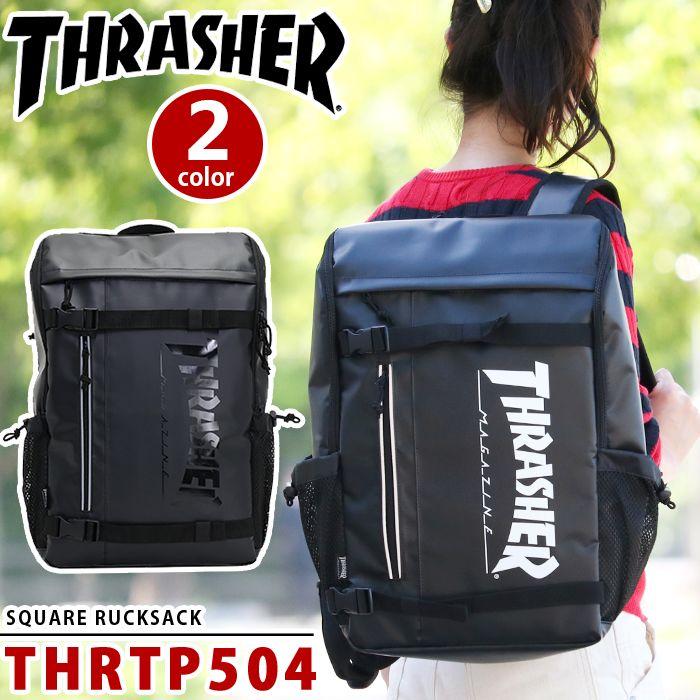 【 2018年NEWモデル 】 THRASHER スラッシャー リュック リュックサック バックパック デイパック スケボーリュック メンズ レディース 男女兼用 ボードストラップ付 ブラック THRTP504