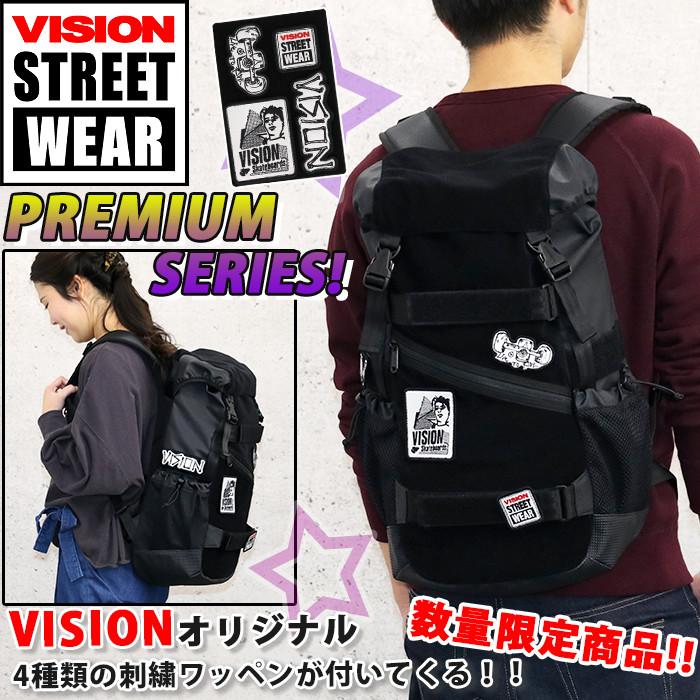 VISION STREET WEAR ビジョン ストリートウェア リュック リュックサック メンズ レディース 男女兼用 フラップ 数量限定 ワッペン付き ボードストラップ付 ブラック 23L VSVX502