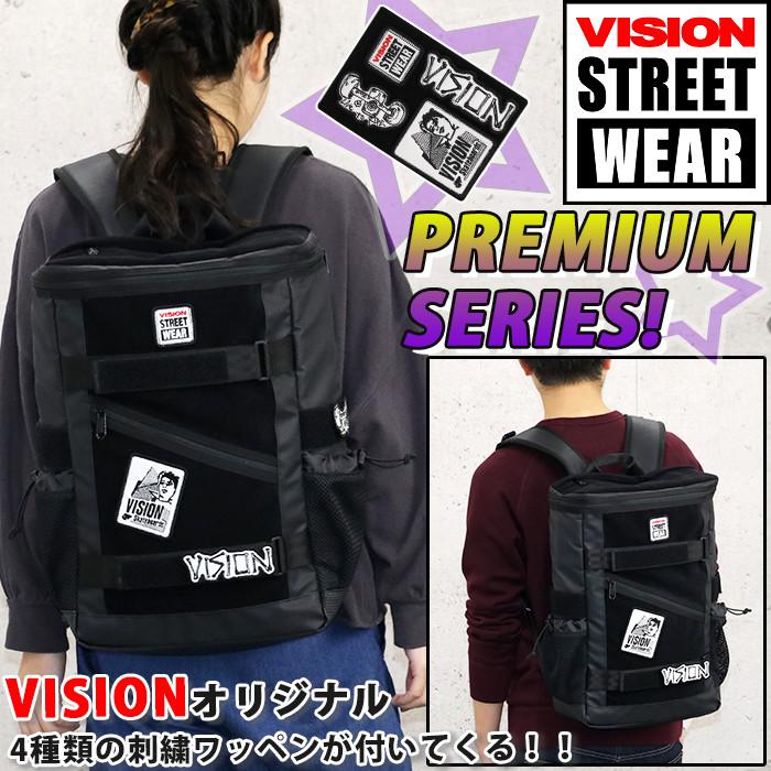 VISION STREET WEAR ビジョン ストリートウェア リュック リュックサック メンズ レディース 男女兼用 スクエア 数量限定 ワッペン付き ボードストラップ付 ブラック 26L VSVX504