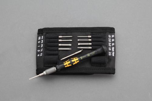 Wera差替式ESD精密ドライバーセット 11点セット・ポーチ付き 弱電KK-MicroESD/11
