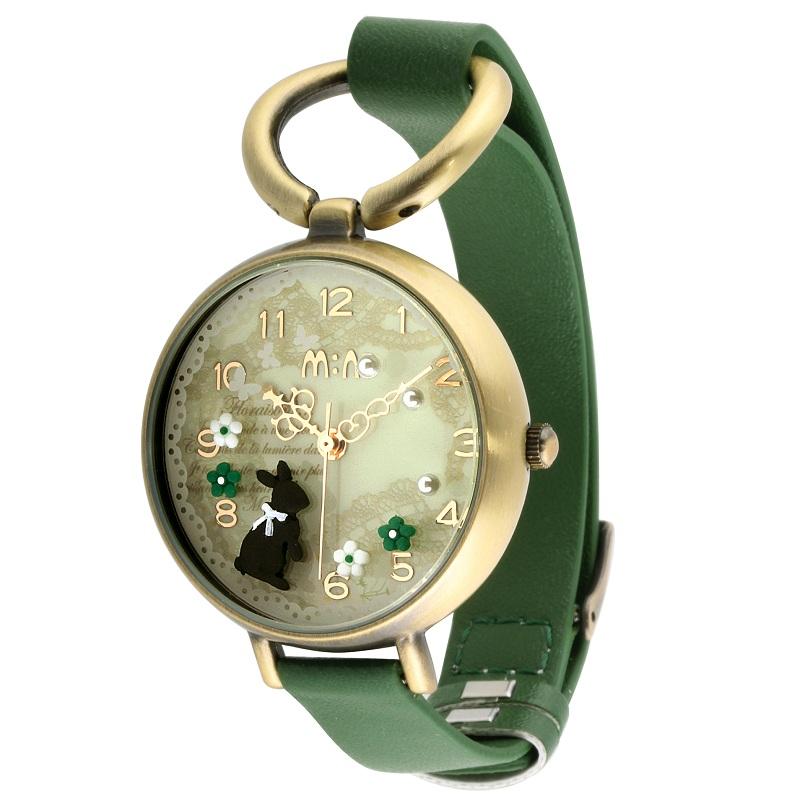 迷你手工手錶黑兔子綠帶