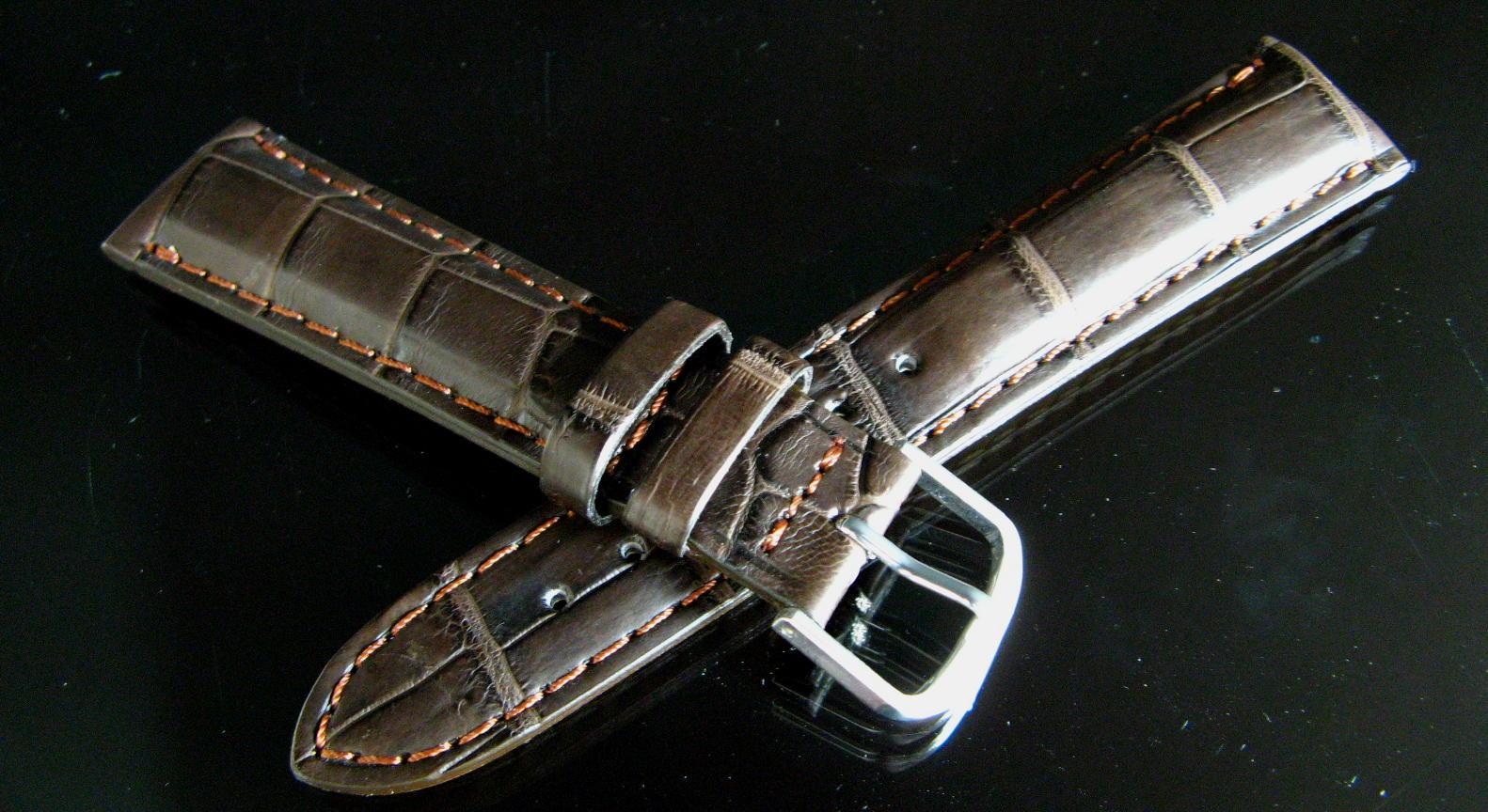 最高級クロコダイル革時計ベルト・竹符 ブラウン 超厚 16ミリ~20ミリ《オイルマット仕上げ》