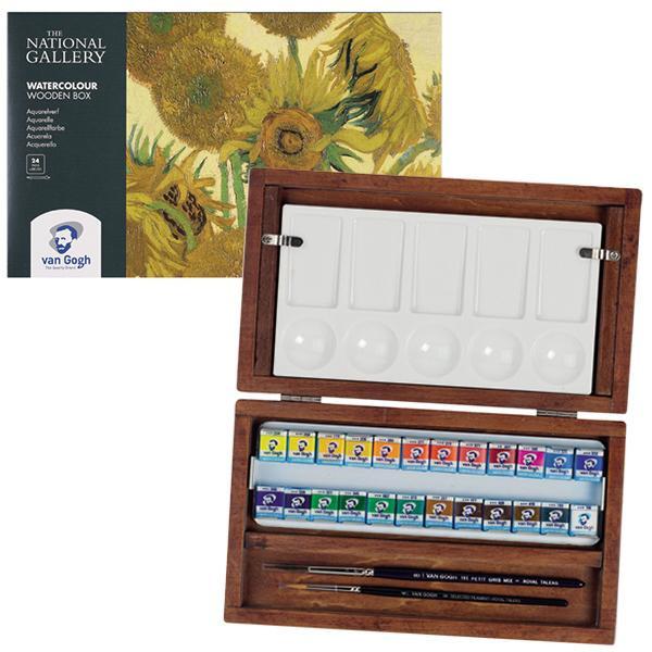 【クーポンあり】【送料無料】ナショナルギャラリー ヴァンゴッホ固形水彩24色セット 木箱ケース T2084-8724 405657 イギリスの国立美術館と共同開発されたシリーズ。