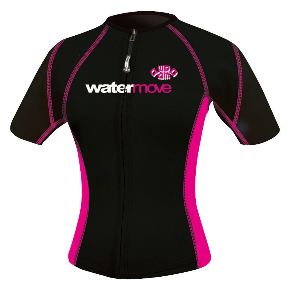 【クーポンあり】【送料無料】watermove ウォータームーブ ショートスリーブボレロ レディース ブラック/ピンク L WMB34235 マリンスポーツに最適!
