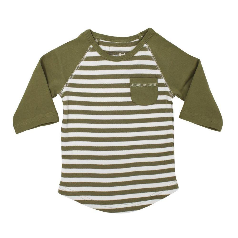 【クーポンあり】L'ovedbaby Stripe-A-Pose Collection キッズ ストライプ ラグラン Tシャツ sap-k302 セージ/ホワイト・4歳 ストライプがかわいい!