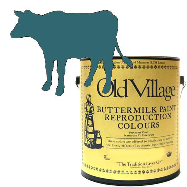 【クーポンあり】【送料無料】Old Village バターミルクペイント ソルジャー ブルー 3785mL 605-13081 BM-1308G ペイント 家具 マット 屋外 DIY ペンキ 塗装 仕上げ