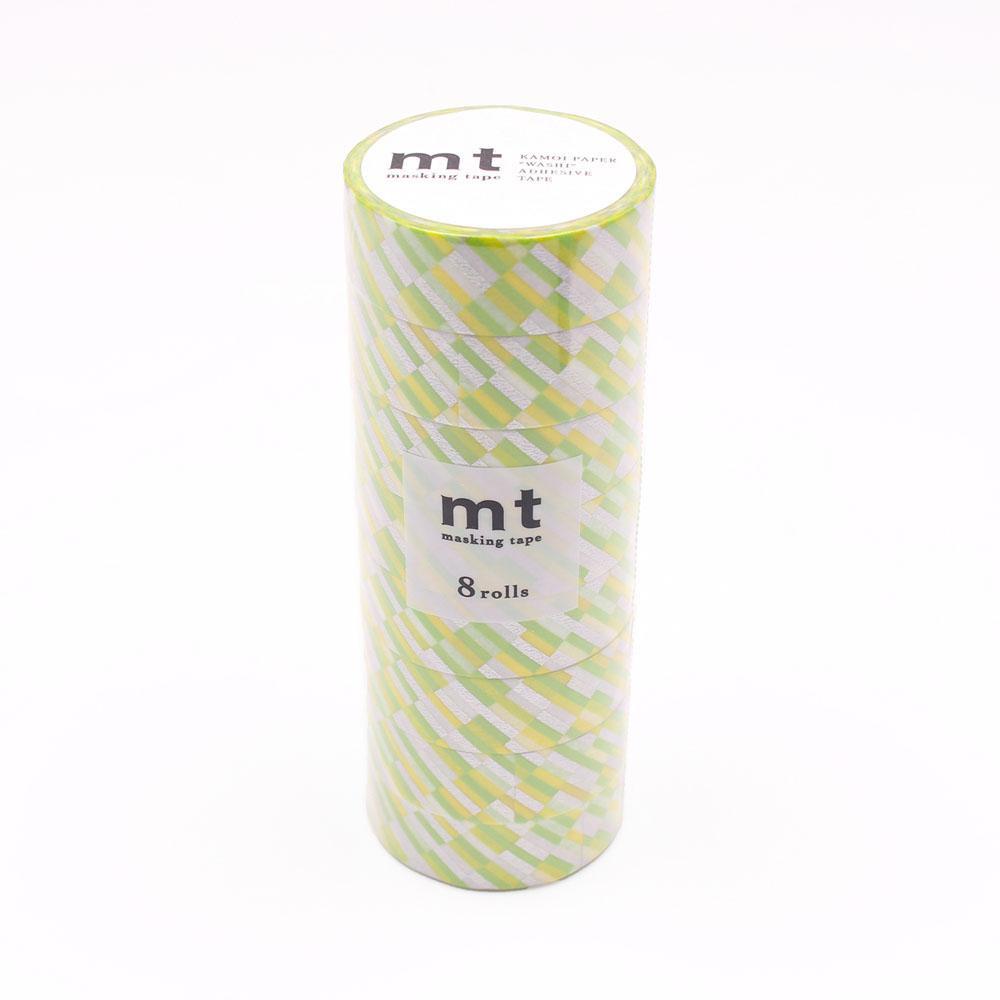 同柄のマスキングテープ 国際ブランド 8巻セットです クーポンあり mt 買い取り マスキングテープ グリーン MT08D439 8P ブロックストライプ