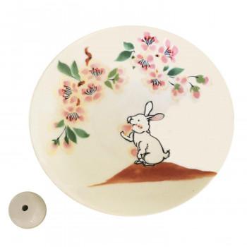 かわいい動物が描かれた香皿 クーポンあり ◆在庫限り◆ 薫寿堂 美濃焼 香立付香皿 ひなたの森 買い物 3195 うさぎ