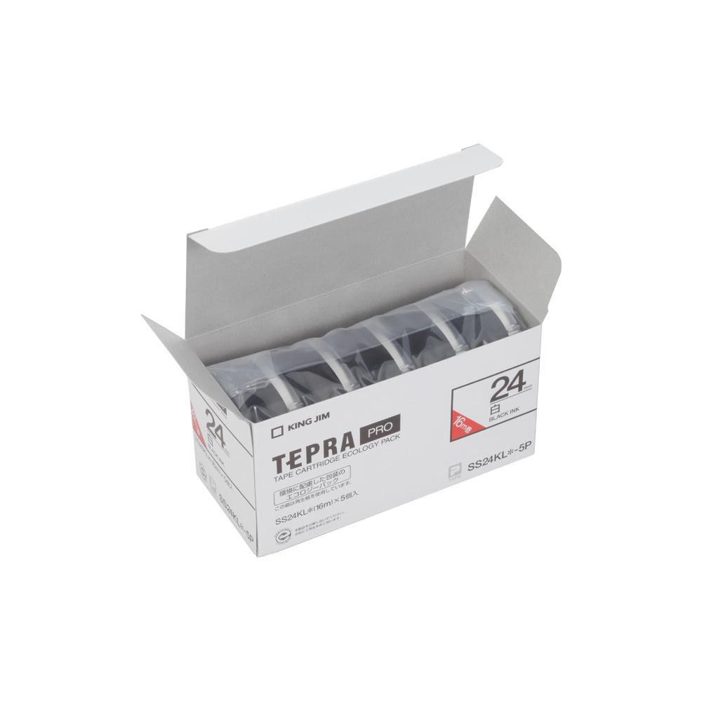 【クーポンあり】【送料無料】KING JIM(キングジム) 「テプラ」PROテープエコパック(5個入り) 白ラベル ロングタイプ/黒文字 幅24mm SS24KL-5P オフィスで大活躍!ポピュラーな白ラベル。