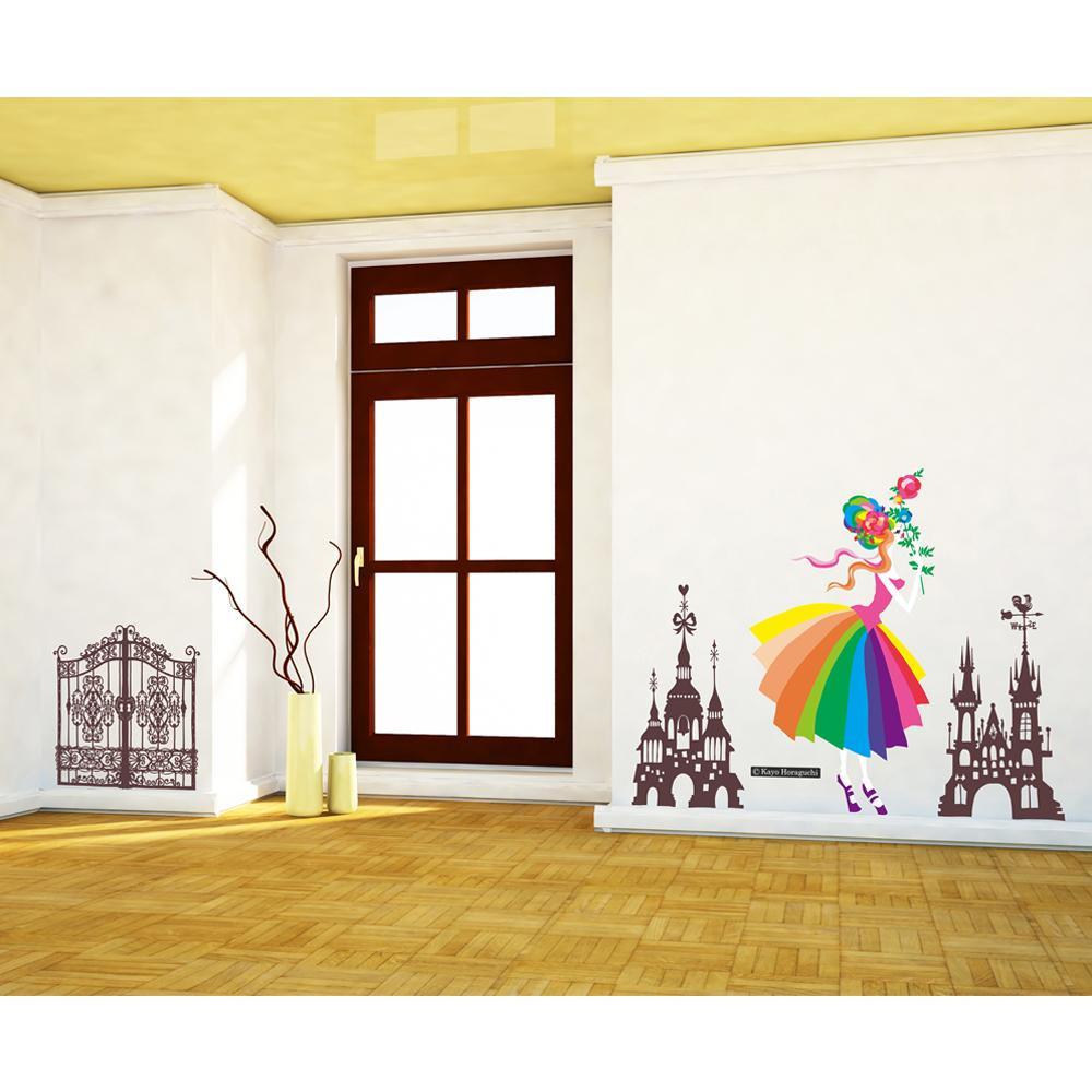 【クーポンあり】【送料無料】東京ステッカー ウォールステッカー 転写式 ホラグチ カヨ 「メリーゴーランドA」 Lサイズ TS-0061-AL 貼るだけで印象的でメルヘンな世界観を感じられる壁へ大変身!