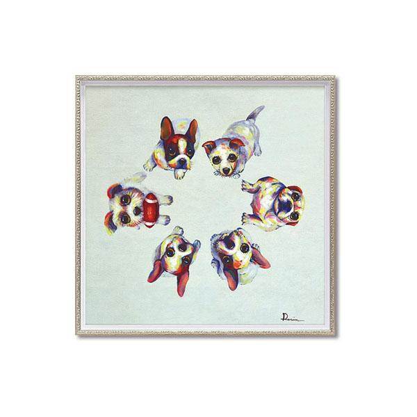 【クーポンあり】【送料無料】ユーパワー OIL PAINT ART オイル ペイント アート 「ドッグ サークル」 Mサイズ OP-18009/1枚ずつ丁寧に手描きした、オイルペイントモダンアート☆