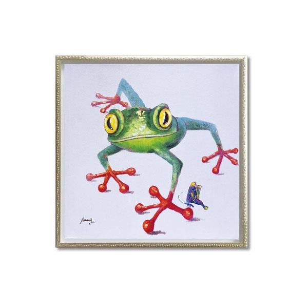【クーポンあり】【送料無料】ユーパワー OIL PAINT ART オイル ペイント アート 「クロール フロッグ」 Mサイズ OP-18002/1枚ずつ丁寧に手描きした、オイルペイントモダンアート☆