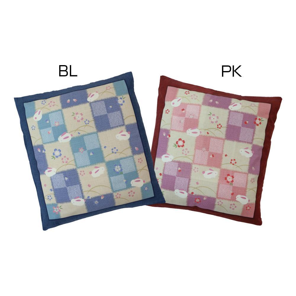 日本製 座布団カバー 銘仙判 市松うさぎ 5枚組 綿100%の座布団カバーです