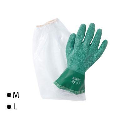【送料無料】東和コーポレーション(TOWA) 腕カバー付手袋 ビニスター腕カバー付 竹 グリーン 10双 615