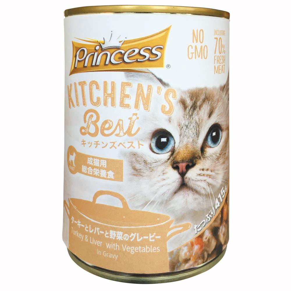 【クーポンあり】【送料無料】成猫用総合栄養食キャットフード キッチンズベスト プリンセス キャット ターキーとレバーと野菜のグレービー 415×24缶