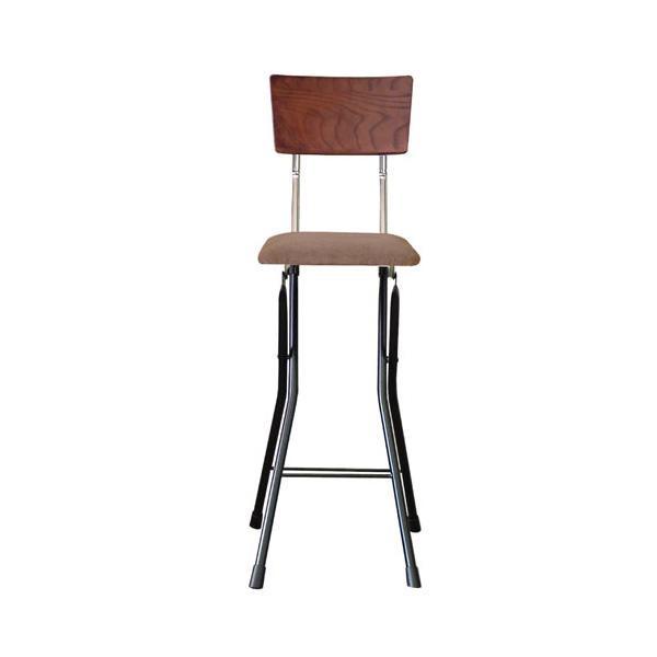 【送料無料】ルネセイコウ 日本製 折りたたみ椅子 フォールディング アッシュウッドチェア ハイ ダークブラウン/ブラック AWC-64 カウンターに最適なハイタイプ。