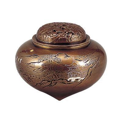 【送料無料】高岡銅器 香炉 名平型楼閣山水香炉 山吹色 129-07