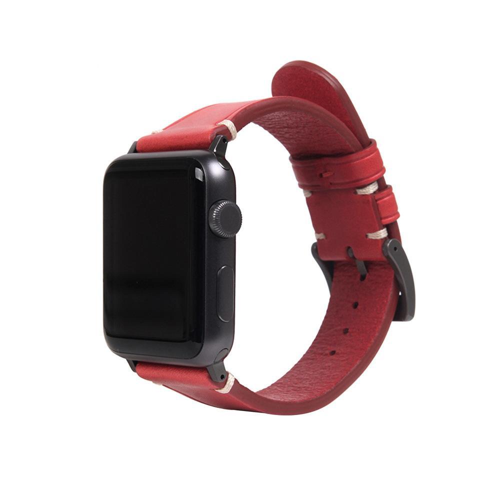 【クーポンあり】【送料無料】SLG Design(エスエルジーデザイン) Apple Watch バンド 38mm/40mm用 Italian Buttero Leather レッド SD18385AW
